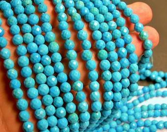 Howlite turquoise - 6mm faceted round beads -1 full strand - 65 beads - A quality - RFG368