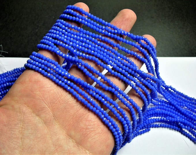 Crystal faceted rondelle - 3.5mmx2.5mm - Blue - 147 pcs - full strand - CRV160