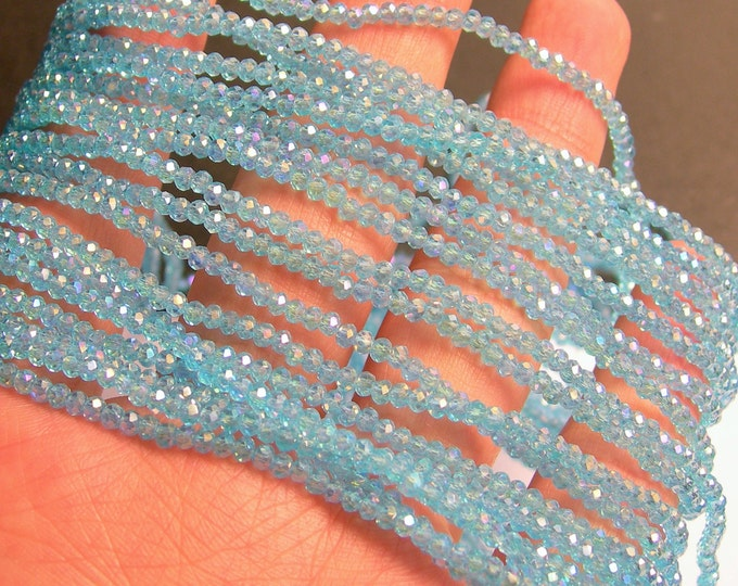 Crystal - rondelle  faceted 3mm x  2mm beads - 200 beads - AA quality - Ab blue - CAA2G104