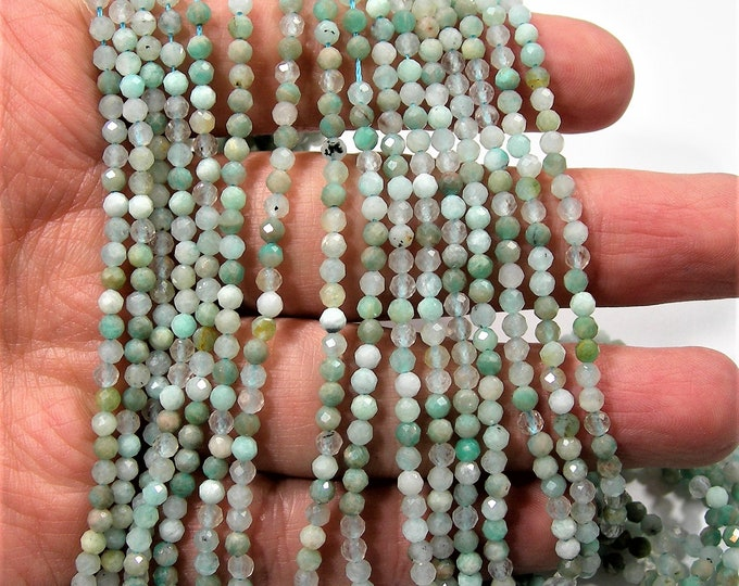 Amazonite - 3mm faceted round beads - full strand  - 130 beads - Amazonite gemstone - Micro Faceted - PG251