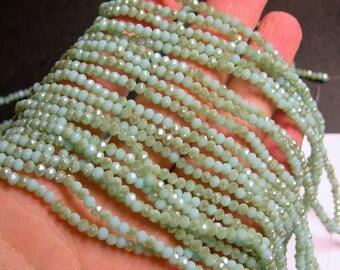 Crystal - rondelle faceted 3.5mm x 2.5mm beads - 148 beads - amazon light ab - full strand - CRV63