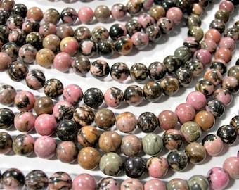 Rhodonite - 8mm round - full strand - 48 beads - RFG285
