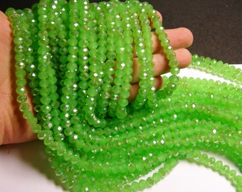 Green Crystal faceted rondelle - 72 pcs -  8 mm - 17 inch strand -  green sparkle - GSH19