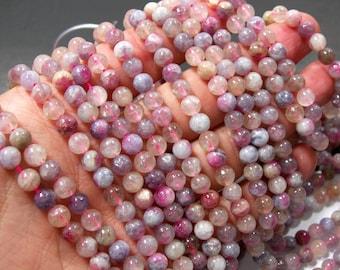 Cherry Blossom Tourmaline - 6mm  round beads - full strand - 63 beads - RFG2342