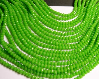 Crystal faceted rondelle - 135 pcs - 18 inch strand - 4 mm - A quality - vivid green - FCRM47