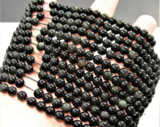 Obsidian rainbow - 6mm(6.3mm) round beads -1 full strand - 62 beads - A quality - RFG229