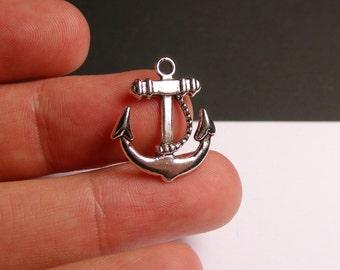 12 Anchor charms - hypoallergenic - 12 pcs - sailor anchor charms - silver tone anchor -   ASA26