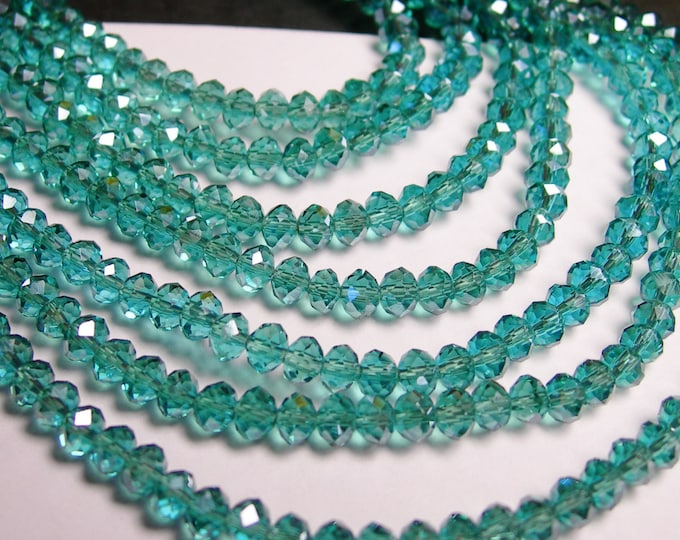 Crystal faceted rondelle - 4mm - 100 beads - aqua  - full strand - NCRF2