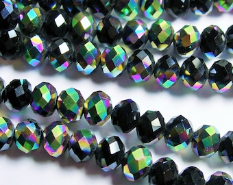 Crystal faceted rondelle - 98 beads - 6 mm - AA quality - black sparkle aqua - full strand - CRV56