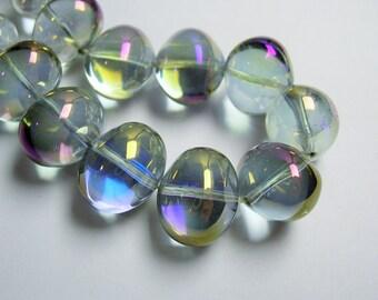 Crystal nugget - 24 pcs - 15mm x 12mm - mystic smoky aura - Ab - CRV14