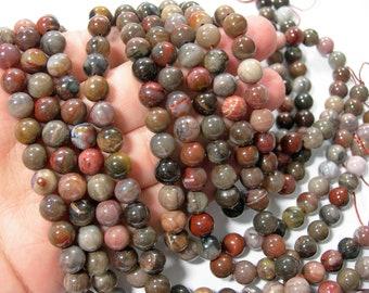 Petrified wood - 8mm round beads - full strand - 48 beads  - RFG572