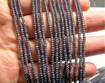 Crystal - rondelle  faceted 1mm x  2mm beads - 197 beads - translucent purple prune - full strand - VSC32