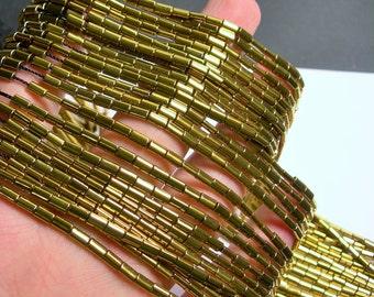 Hematite Gold - 5mm flat tube beads - 1 full strand - 80 beads - AA quality - PHG194