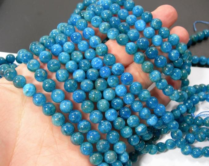 Blue Apatite - 8mm round beads - Full strand - 49 beads - Apatite -  RFG2339