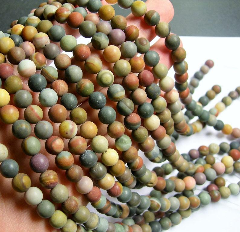 50 beads full strand AA quality 8 mm round beads Polychrome jasper matte RFG774