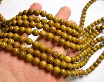 Yellow Petrified wood - 8mm round beads -1 full strand - 48 beads - RFG1126