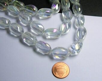 Crystal nugget - 15 pcs - 20mm x 13mm - Ab clear - CRV127
