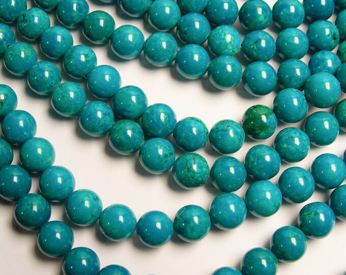 Howlite turquoise -  10mm beads -  full strand - 40 beads - A Quality - RFG206