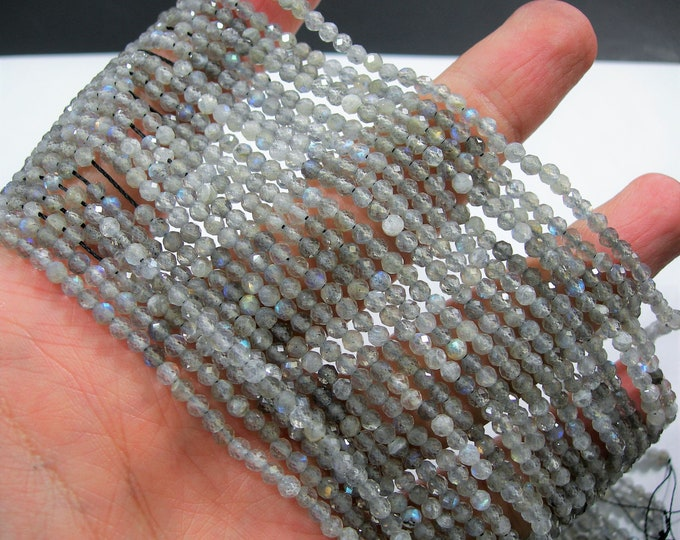 Labradorite - 3mm(3.2mm) faceted round beads - full strand  123 beads - micro faceted labradorite  - PG198