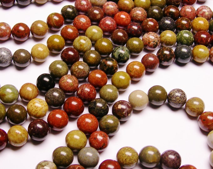 River Jasper - 12 mm round beads -1 full strand - 34 beads - RFG1027