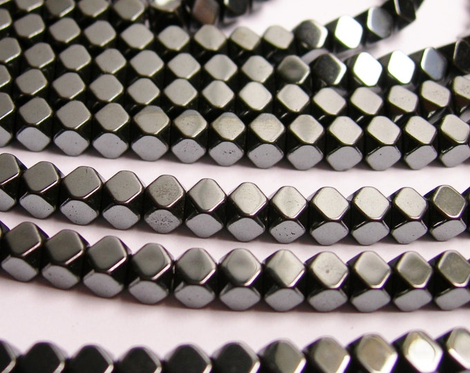 Hematite - 4mm faceted rhombus square - full strand - 102 beads - AA quality - CHG23