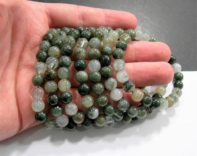 Green Rutile quartz - 1 set - 8mm  - 23 beads - Actinolite in quartz - HSG272
