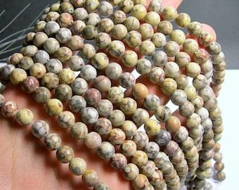 Fossil Jasper - 8mm  round beads -1 full strand - 48 beads - RFG822