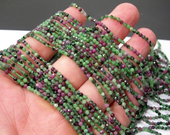 Ruby Zoisite - 2mm(2.25mm) Micro Faceted  round beads - full strand - 173 beads - Ruby Zoisite - RFG2337