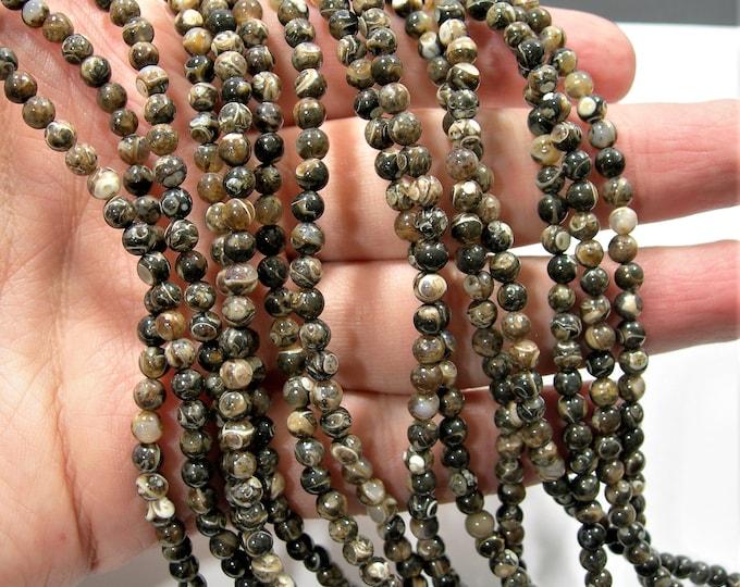 Turritella Agate  - 4mm round beads -  full strand - 95 beads - RFG1868