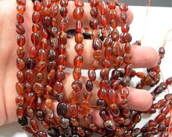 Hessonite Garnet - full strand - pebble nugget - 48 beads per strand  - RFG2206
