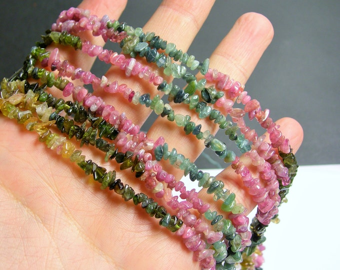 Tourmaline  - chip stone beads  -1 full strand - 16 inch - multi color - PSC178