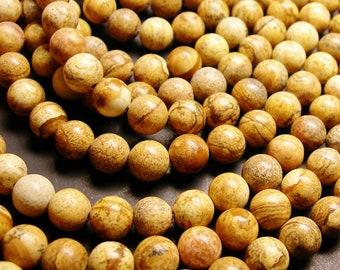 Picture Jasper - 10 mm round beads -1 full strand - 38 beads - RFG798
