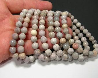 Grey White Agate - 1 set - 8mm  - 23 beads -  HSG210