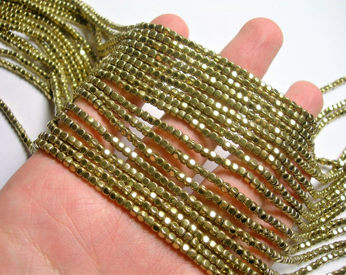 Hematite gold - 3mm rounded cube - full strand -145 beads - AA quality  -  PHG256