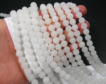 Jade - matte 8mm round beads - full strand - 48 beads - matte white Jade - RFG530