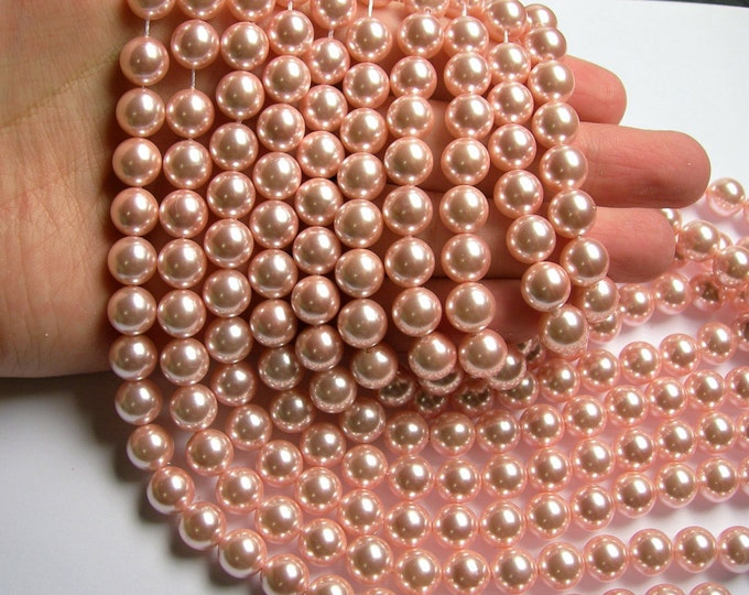 Pearl  - 10mm round - Pink peach - 1 full strand - 40 beads - SPT12 - Shell pearl