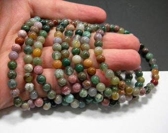 Indian agate - 6mm round beads - 29 beads - 1 set - A quality  - HSG283