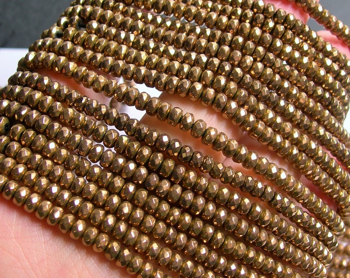 Hematite Bronze - 3x4mm faceted rondelle beads - full strand - 135 beads - A quality - PHG209