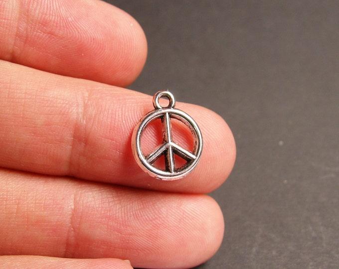 12 peace charms -  12 pcs - peace silver tone charms - ASA56