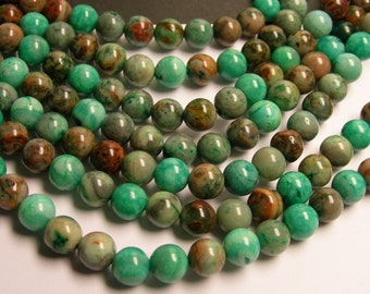 Aqua green Crazy Lace Agate - 8mm round - 1 full strand - 49 beads - A quality - RFG154