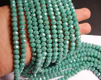 Crystal faceted rondelle - 69 pcs - 8 mm - A quality - full strand - Ab turquoise  - GSH38