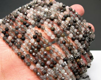 Tourmalinated quartz - 4mm micro faceted  round beads - full strand - 96 beads - mix Rutile - RFG2341