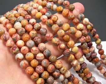 Red Crazy Lace Agate - 8mm round - 1 full strand - 50 beads - A quality - RFG429