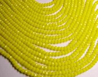Crystal faceted rondelle - 90 beads -  6 mm - A quality - bright yelllow  - full strand - CRV98