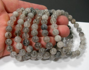 Tourmalinated Quartz - 8mm round beads - 23 beads - 1 set  - HSG182