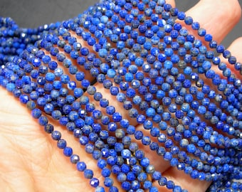 Lapis Lazuli - 3.3mm faceted round beads - full strand  118 beads - micro faceted Lapis Lazuli - PG403