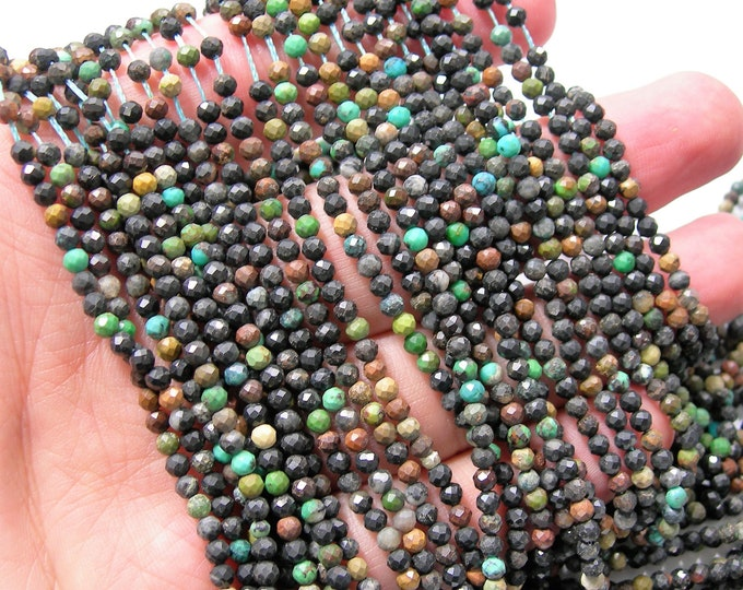Black Turquoise - 3mm (2.9mm) faceted beads - full strand - 135 beads - Micro Faceted - RFG2342