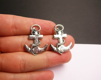Anchor charms - 12 pcs - hypoallergenic -  silver Anchor charms -  ASA173