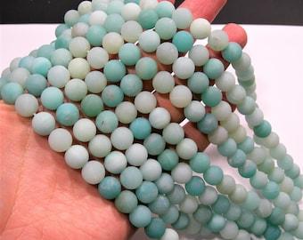 Amazonite - 10mm round beads - matte - full strand - 38 beads - RFG1756