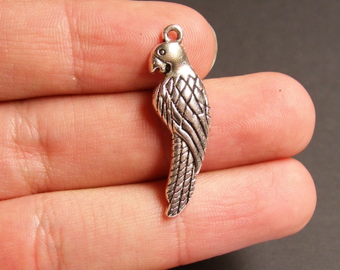6 Parrot charms -  6 pcs - parrot - Tibetan silver tone charms - 34mm - ASA61